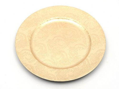 Decorated Round Gold Charger Plate